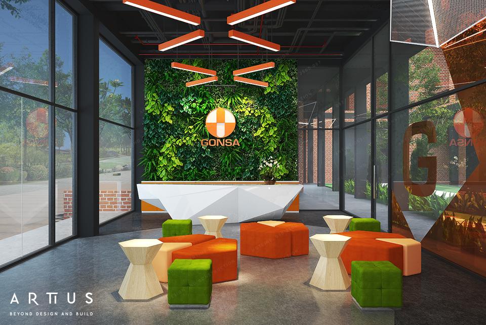 Không gian văn phòng kết hợp cây xanh