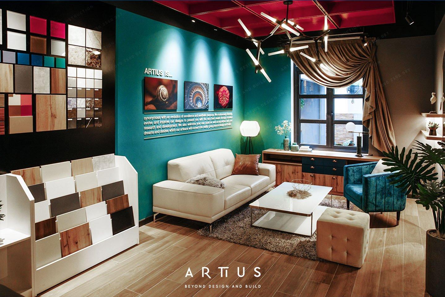 Không gian trưng bày vật liệu và mô phỏng phòng khách