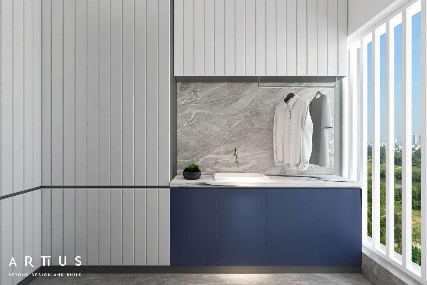 Thiết kế nội thất hiện đại sử dụng màu sắc nổi bật làm điểm nhấn