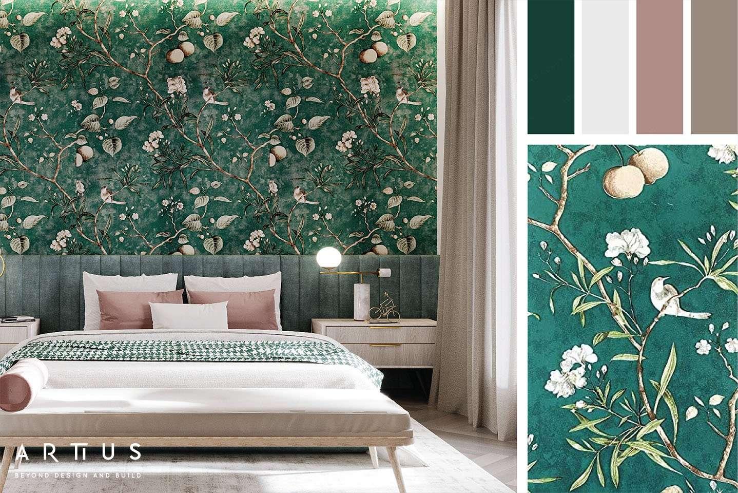 Giấy dán tường họa tiết hoa - màu nổi bật