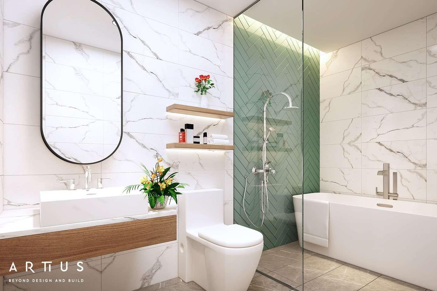 Thiết kế phòng tắm sử dụng màu sắc nổi bật