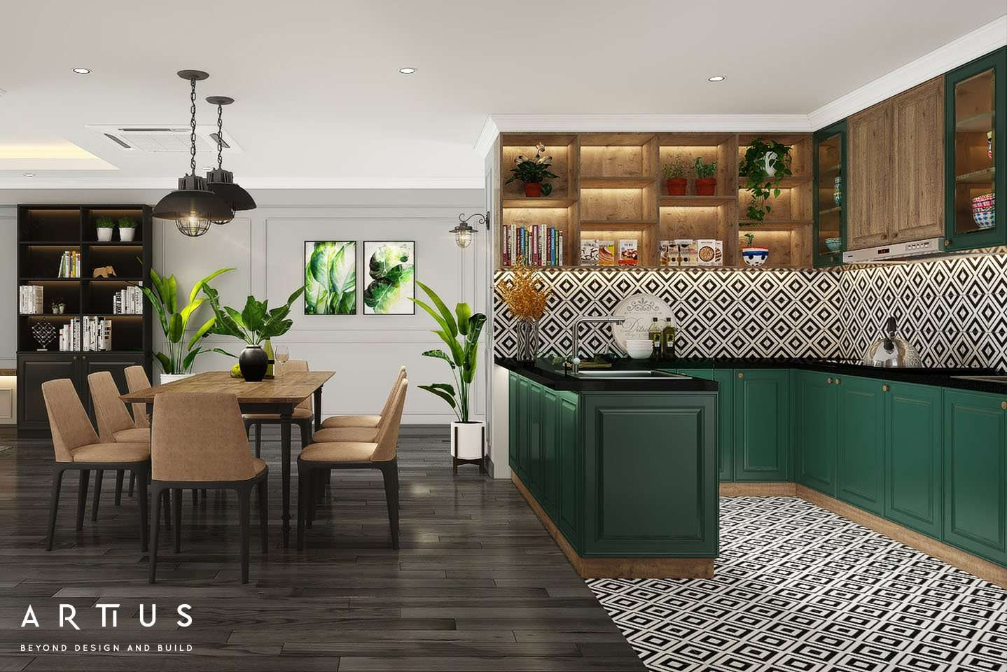 Thiết kế không gian bếp sử dụng vật liệu thẫm mỹ và chất lượng