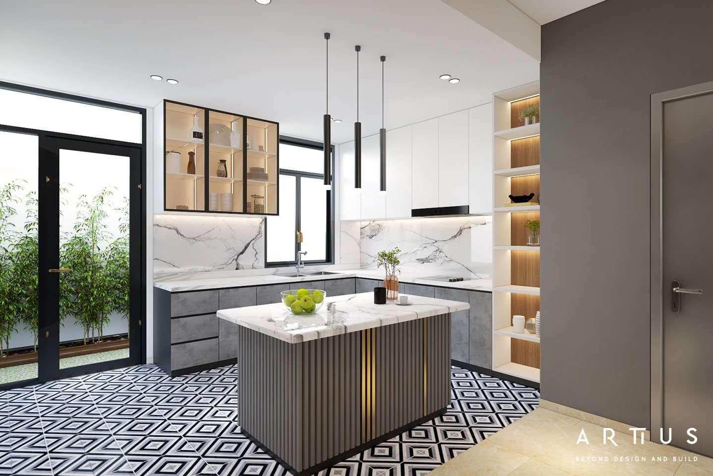 Thiết kế không gian bếp tối ưu lối lưu thông
